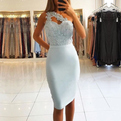 Elegant One Shoulder Mermaid Homecoming Dresses | 2020 Lace Short Prom Dresses On Sale_2