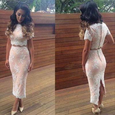 Modern Lace Two Piece 2020 Prom Dress Zipper Button Back_2