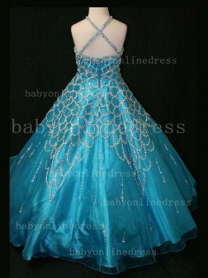 Halter Girls Dresses on Sale Discounted Pageant Beaded Crystal Organza Gowns Stores_5