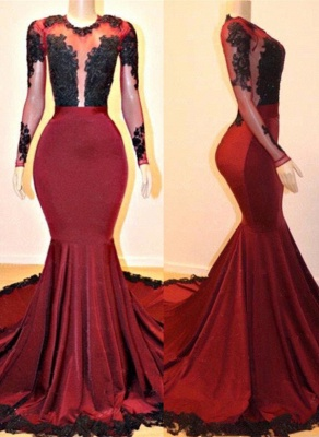 Gorgeous Long Sleeve Burgundy Prom Dresses | 2020 Mermaid Lace Evening Gowns On Sale_1