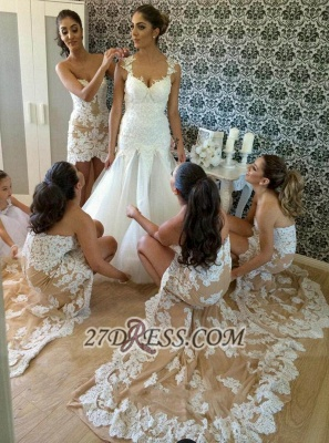 Sexy Sweetheart Sleeveless Hi-Lo Bridesmaid Dress With Lace Appliques_3