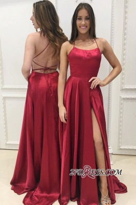 Red Criss-Cross-Straps A-Line Side-Slit Sexy Prom-Dresses Long Evening-Dresses BA8048_1