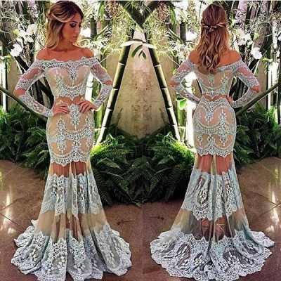 Sexy off-the-Shoulder Long Sleeve 2020 Prom Dress Mermaid Lace Sheer Skirt Party Gowns BA4074_2