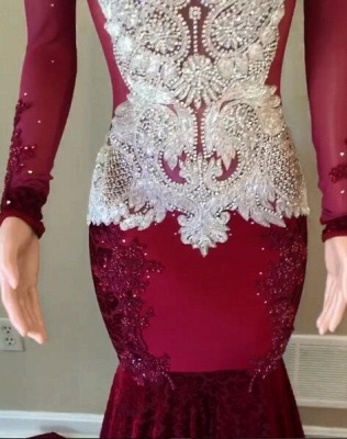 Gorgeous Long Sleeve 2020 Prom Dress | Lace Beadings Mermaid Evening Gowns_2