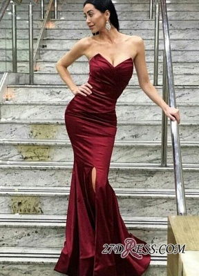 2020 Floor-Length Sweetheart Split Modern Mermaid Evening Dress_1