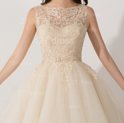 Newest Illusion Princess Tulle Evening Dress Lace Ruffles_2