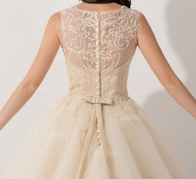 Newest Illusion Princess Tulle Evening Dress Lace Ruffles_4
