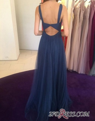 Long V-neck Blue Simple Chiffon Evening Dress_1