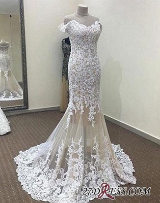 Lace White Off-the-shoulder Long Mermaid Evening Dress_1