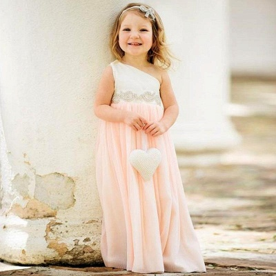 Delicate One Shoulder Chiffon Flower Girl Dress 2020 Pearls_2