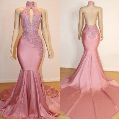 Elegant High-Neck Sleeveless Prom Dress | 2020 Mermaid Lace Appliques Evening Gowns BC1535_2