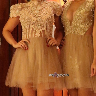 Lace shaort prom dress, 2020 lace homecoming dress_1