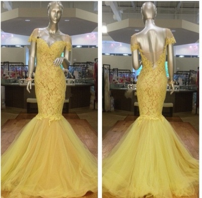 Newest Yellow Tulle Lace Mermaid Evening Dress 2020 Sweetheart Short Sleeve_3