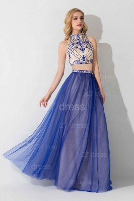 Modern Halter Two Piece Evening Dress Floor-length_2