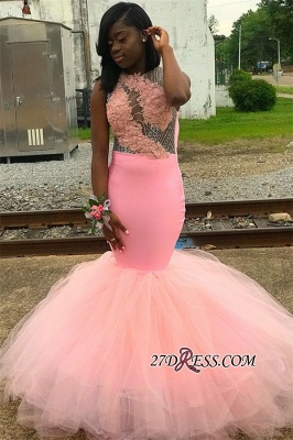 Pink Backless Tulle Mermaid Prom Dresses   Sexy Appliques Sleeveless Evening Gown_3