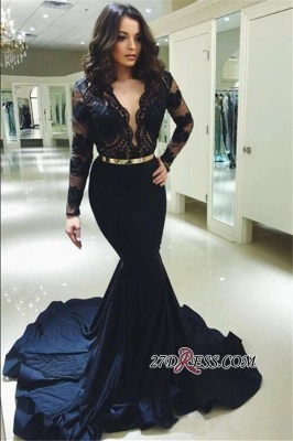 Sexy Black Long Sleeve Prom Dresses | 2020 Lace Mermaid Long Evening Gowns_1
