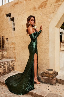 Elegant Sweetheart Long Sleeves Front Split Prom Dress | Green Sequins Sweep Train Evening Gown_2