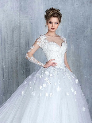 Elegant Long Sleeve White 2020 Wedding Dress tulle Ball Gown Appliques_1