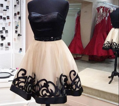 Elegant Sweetheart Short Tulle Homecoming Dress With Beadings_3