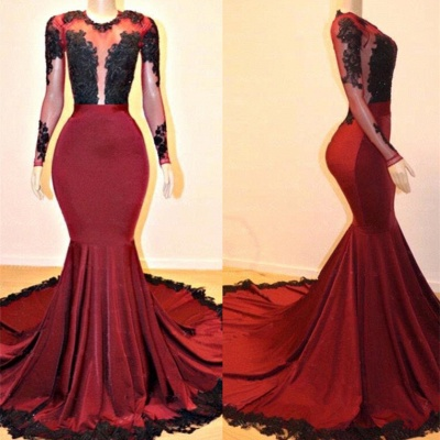 Gorgeous Long Sleeve Burgundy Prom Dresses | 2020 Mermaid Lace Evening Gowns On Sale_2