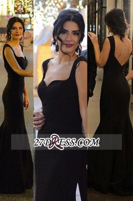 Long Mermaid Backless Sleeveless Sexy Black Evening Gowns_1