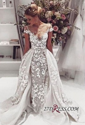 Cap-Sleeves Lace Illusion Overskirt Appliques Popular Open-Back Wedding Dress_3