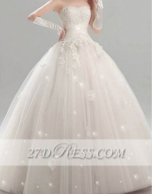 Glamorous Tulle Strapless Wedding Dresses Appliques Bridal Ball Gowns_1