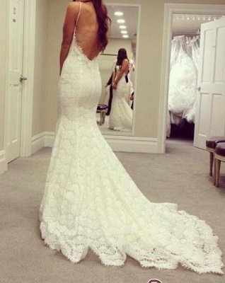 Cheap Simple Mermaid Sexy Backless Spaghetti-Straps Lace Wedding Dresses BC0719_1