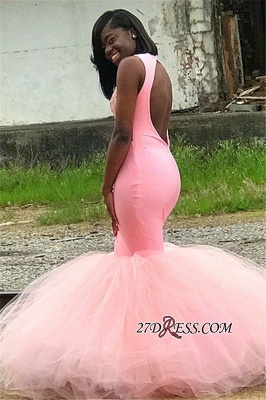 Pink Backless Tulle Mermaid Prom Dresses   Sexy Appliques Sleeveless Evening Gown_2
