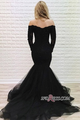 Black Off-the-shoulder Sweep Train Mermaid Brilliant Long-Sleeves Evening Dresses_2