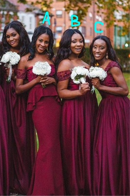 Sexy A-line Off-shoulder Bridesmaid Dress Floor-length With Lace_1