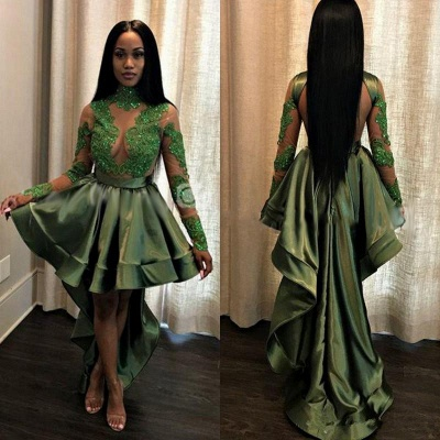 Green Hi-Lo Prom Dress | Long Sleeve 2020 Evening Party Gowns_3