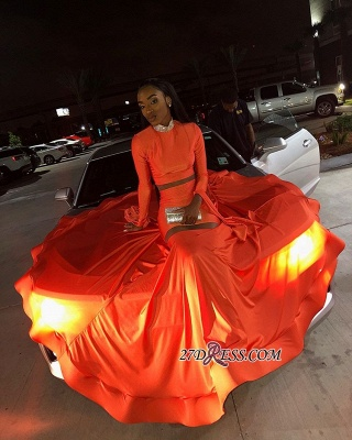 Sexy Long Sleeves Mermaid Prom Dress | Orange High-Neck Long Ruffle Prom Gown_4