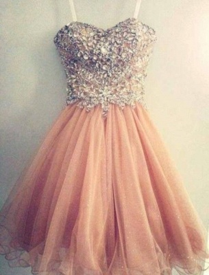 Gorgeous Sweetheart Spaghetti Strap Homecoming Dress Beadings Crystals Short Prom Gowns_1