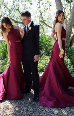 Elegant Halter Mermaid Lace Prom Dress 2020 With Lace_1