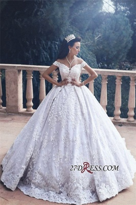 Princess Off-The-Shoulder Luxurious Lace Appliques Ball-Gown Wedding Dress_1