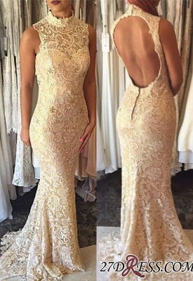 High-Neck Sleeveless Elegant Open-Back Lace Mermaid 2020 Prom Dress_2