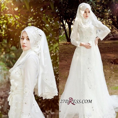 2020 Beads White Arabic Bow Delicate A-line Wedding Dress_2