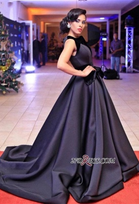 Sleeveless Sweep-Train Black Glamorous Evening Dress_4