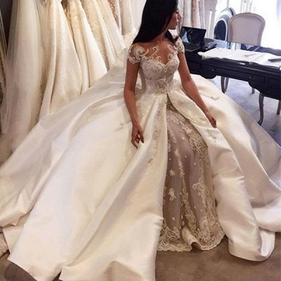 Gorgeous Ball Gown Lace Appliques Wedding Dress 2020 Short Sleeve Illusion LP076_2