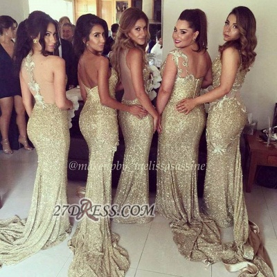 Sexy Sleeveless Golden Floor-length Bridesmaid Dress With Different Design_2