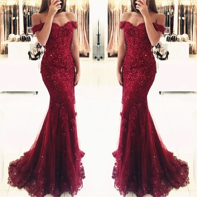 2020 Appliques Off-the-shoulder Red Lace Glamorous Mermaid Evening Dress_7