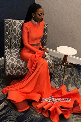 Sexy Long Sleeves Mermaid Prom Dress | Orange High-Neck Long Ruffle Prom Gown_2