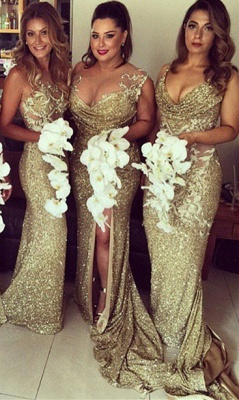 Sexy Sleeveless Golden Floor-length Bridesmaid Dress With Different Design_3