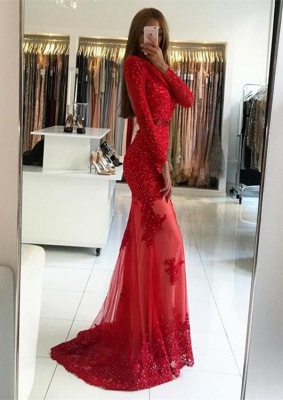 Sexy Red Long Sleeve Evening Dress | 2020 Appliques Long Prom Dress_1