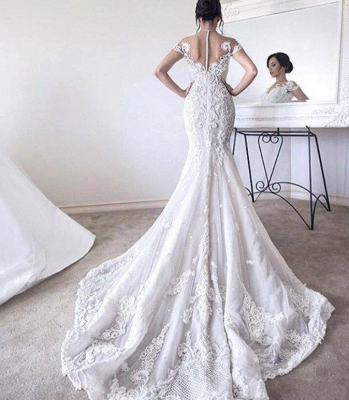Gorgeous Ball Gown Lace Appliques Wedding Dress 2020 Short Sleeve Illusion LP076_3