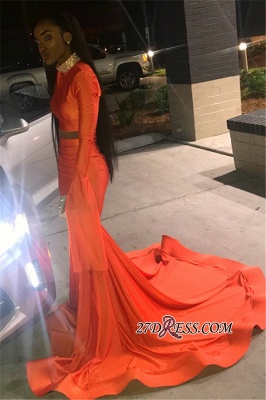 Sexy Long Sleeves Mermaid Prom Dress | Orange High-Neck Long Ruffle Prom Gown_5