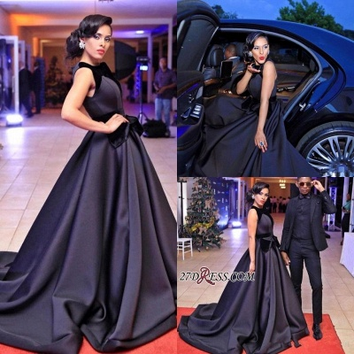 Sleeveless Sweep-Train Black Glamorous Evening Dress_2