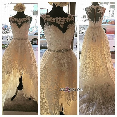 Lace Button Designer Glamorous Tulle Zipper Sleeveless Wedding Dress_2