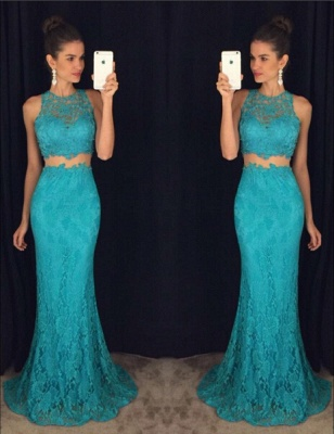 Delicate Mermaid Lace 2020 Prom Dress Two Piece AP0_1